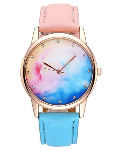 JSDDE Uhren,Fashion Candy Farbe Damen Armbanduhr Sternenhimmel Farbverlauf Kleid Uhr Blau Pink Kontrast Farbe Quarz Uhr (Kleid Anlass Kontrast)