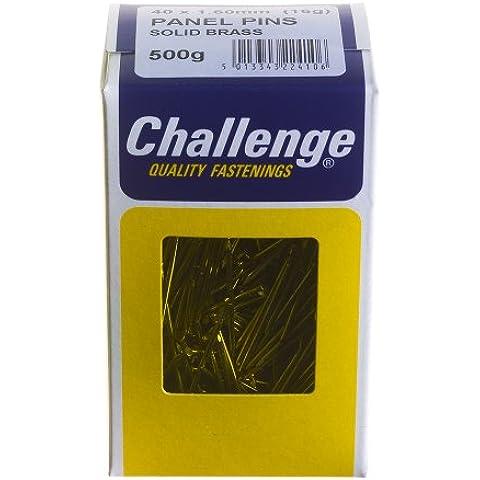 Challenge - Chiodi in ottone massiccio, 40 x 1,60 mm, confezione da 500 g