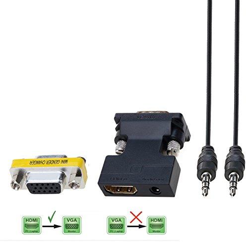 CableDeconn Active HDMI a VGA Adattatore Cavo Convertire da 3,5 mm Audio Femmina Maschio supporta Audio for per Google Chromecast--Specially uso
