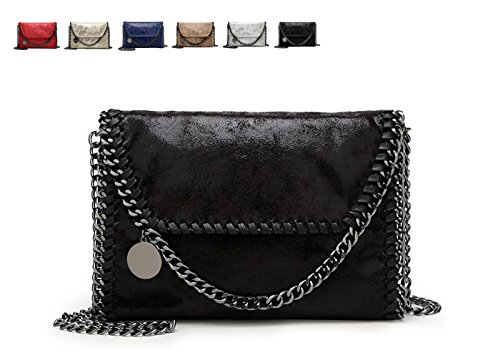 - 418lFKRiutL - KAMIERFA Metallic Cross Body Bags Designer Handbags for Women Evening Clutch Bag PU Leather with Chain Strap