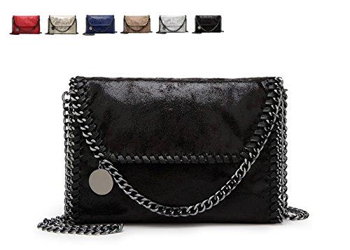 KAMIERFA Metallic Cross Body Bags Designer Handbags for Women Evening Clutch Bag PU Leather with Chain Strap 418lFKRiutL