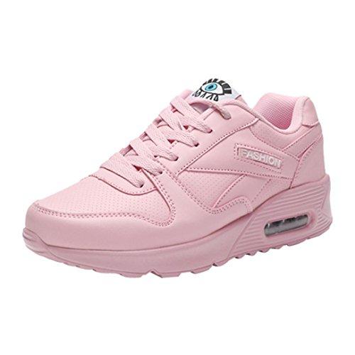 DEELIN Damen Schuhe Mode Freizeitschuhe Outdoor Wanderschuhe Wohnungen Lace up Damen Schuh (35, Rosa)