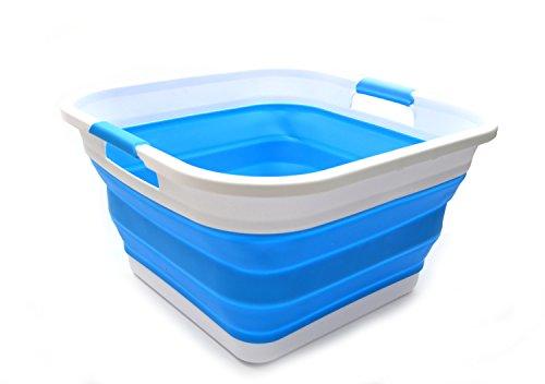 SAMMART Collapsible Plastic Laundry Basket - Square Tub/Basket - Foldable Storage Container/Organizer - Portable Washing Tub - Space Saving Laundry Hamper (Himmelblau) -