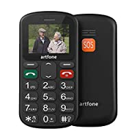 Unlocked GSM Mobile Phone, artfone MT6261M Flash 32+24MB GSM Big Button Mobile Phone,Dual SIM Unlocked, Torch And Radio (Black)