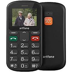 Artfone GSM Téléphone Portable Senior Débloqué avec Grandes Touches, Bouton SOS Dual-SIM et Lampe Torche