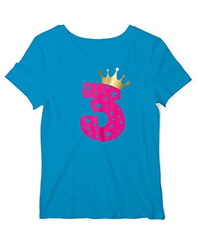 RoughTex Mädchen T-Shirt Geburtstag 3 Jahre | Tshirt mit Aufdruck Zahl und Goldene Krone | Lustige Geschenk-Idee 3. Kinder-Geburtstag Aqua-Pink - Geburtstag Kinder-goldenen