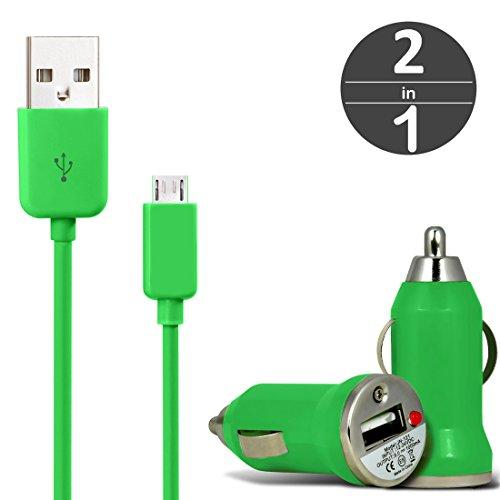 [2 in 1 Set] KFZ USB Charger Universal Ladegerät Adapter für Auto mit LED-Anzeige 1 A / 5 W + Micro USB 2.0 Kabel 1 m Datenkabel von wortek Grün