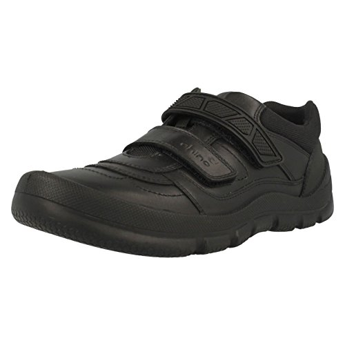 hot sale online 47090 8ad11 Rhino Start-rite Boys Warrior Black Leather School Shoes H L 3