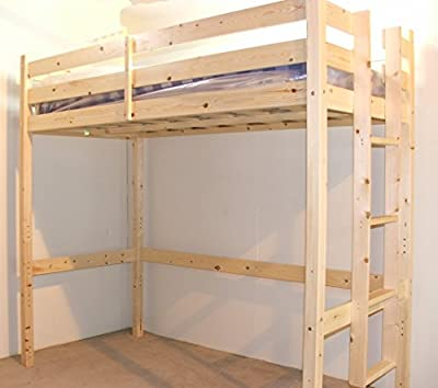 Loft Bunk Bed - 3ft single wooden high sleeper bunkbed - heavy duty use - CAN BE USED BY ADULTS - - cheap UK light shop.