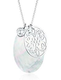 Elli Damen-Halskette Perlmuttscheibe Ornament 925 Silber Zirkonia weiß Brillantschliff - 0110990412_70
