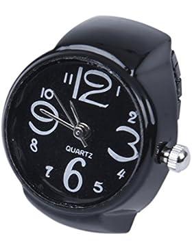 SODIAL(R) 22mm Rund Ringuhr Finger Uhr Fingeruhr Uhrenring Metall TOP