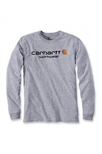 Carhartt Core Logo Long Sleeve T-Shirt, CH102564-heather grey, XS (Shirt Sleeve Work Long Baumwolle)