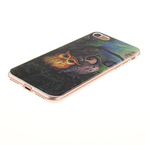 XiaoXiMi iPhone 7 Hülle Gel Gummi Silikon Schutzhülle für iPhone 7 Soft TPU Silicone Case Cover Weiche Flexible Schale Schlanke Glatte Tasche Ultra Dünne Leichte Etui Kratzfeste Stoßfeste Handyhülle m Eule Ölgemälde