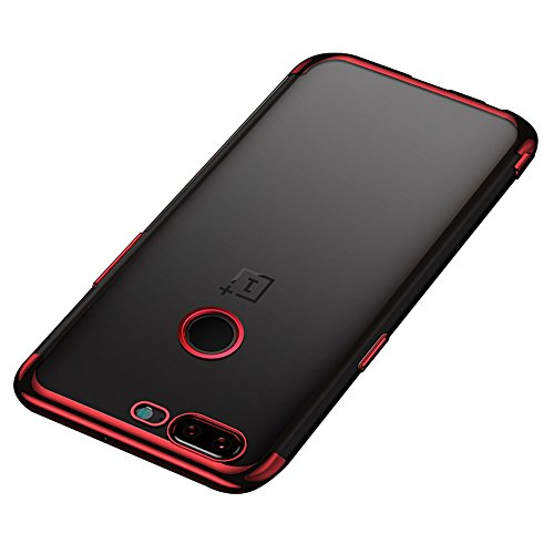 BLUGUL OnePlus 5T Hülle, Electroplating Coloring, Crystal Clear Transparent Schutzhülle, Ultra-Dünn Case, Weiche TPU Silikon Cover für OnePlus 5T, Rot