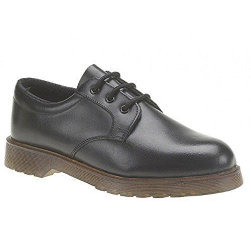 Grafters Denver Herren Leder Air Gepolsterte Uniform Schuhe Schwarz, Schwarz - Schwarz - Größe: 41.5