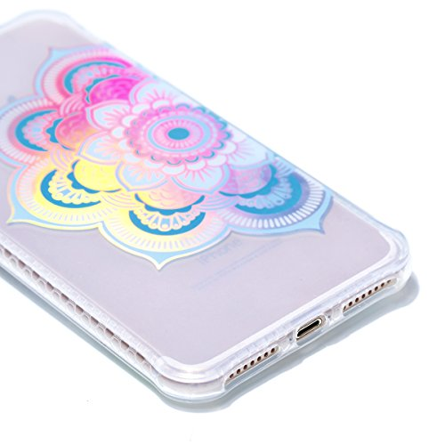Apple iPhone 7 Plus 5.5 Hülle, Voguecase Schutzhülle / Case / Cover / Hülle / Plating TPU Gel Skin (Schwarz-Bunt Durchstochen 09) + Gratis Universal Eingabestift Transparente-halbe Blumen