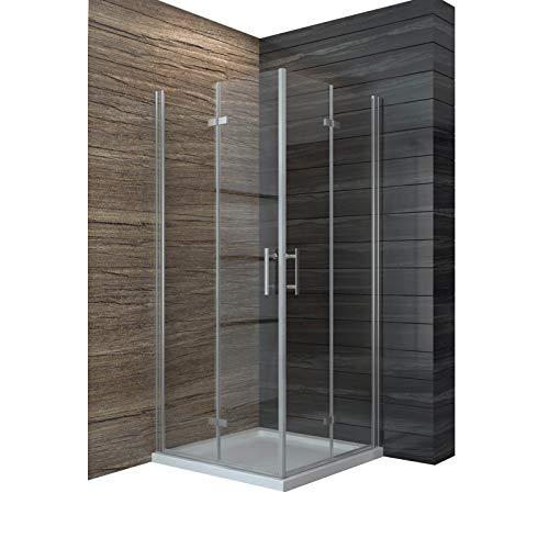 Dusche Duschkabine 80x80cm Eckeinstieg Falttür Duschabtrennung Duschtür Eckdusche Duschwand aus Sicherheitsglas