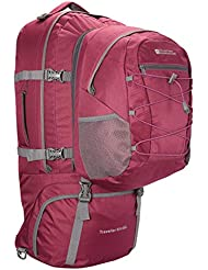 Mountain Warehouse Traveller Rucksack - 60 + 20 Liter - Abnehmbarer Tagesrucksack, strapazierfähig, mehrere Fächer mit Regenabdeckung - Für Reisen, Wandern, Camping, Frühling Violett