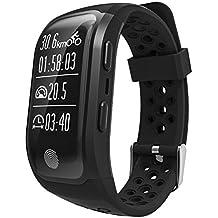 Rungao GPS - Pulsera inteligente con sensor de ritmo cardíaco y monitor de sueño (podómetro, IP68resistente al agua), negro
