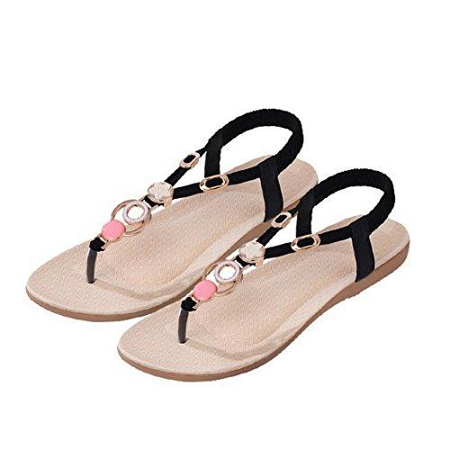 Vertvie Damen Sommer Schuhe Strandschuhe Offene T-Spangen Sandalen Knöchelriemchen Sandalen mit Strass Zehentrenner Flip Flop Hausschuhe (38, Rot)
