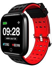 Denret3rgu Lemfo Q8 Relojes Inteligentes Impermeable Ritmo cardíaco Gimnasio Rastreador Pulsera Deportes Pulsera Inteligente - Rojo