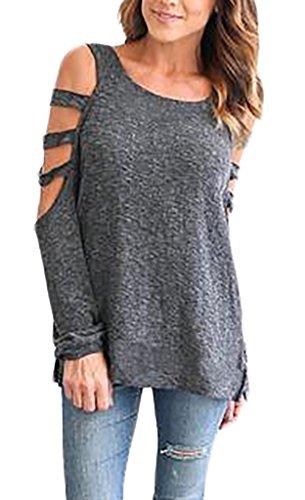 Frauen Langarmshirts Tunika T-Shirts Tunika Langarm Rundkragen Trägerlos  Aushoshlen Mit Löchern Loose Normallacks Vintage