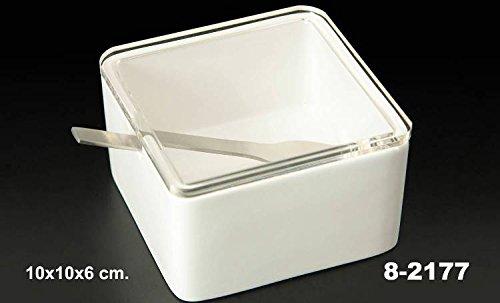 DonRegaloWeb Sucrier en Carré Céramique Blanc avec Couvercle Acrylique Transparent et Cuillère Acier Inoxydable.