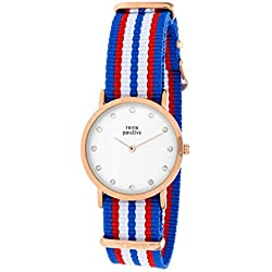 Ladies' THINK POSITIVE® Model SE W96 Watch Medium Flat Rosè Crystal Bracelet Of Cordora Blue, Red, White