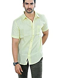 PANFILO 100% Linen Canary Yellow Half Sleeve Shirt