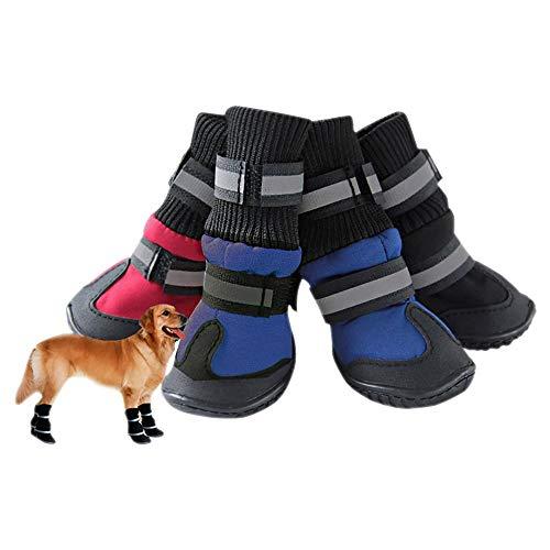 Xhuan Botas de Nieve Antideslizantes para Perro Mascota, 4 Unidades, Zapatos cálidos y Suaves a Prueba de Agua para Invierno(negrolarge)