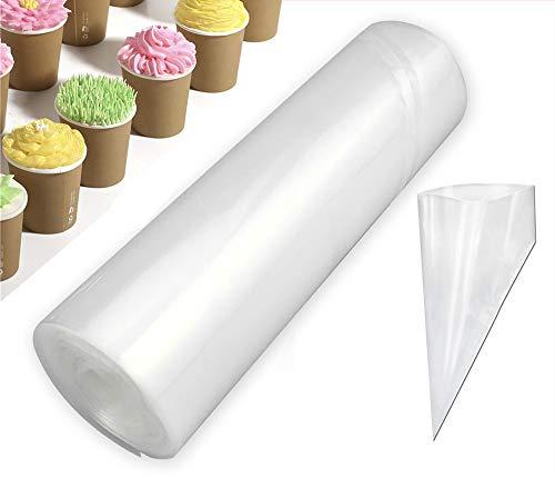 Beunyow 1 Rolle 50 Stück Einweg Spritzbeutel, Profi Spritzbeutel-Set aus Kunststoff Spritztüten Kuchen Dekoration Taschen für Spritztüllen Backen und Dekorieren -