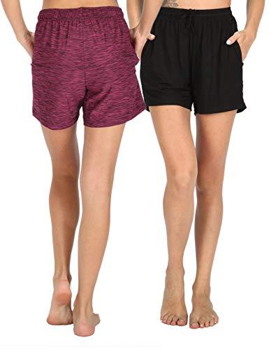 WEWINK CUKOO Modal Damen Schlafanzughose Pyjama Shorts Capri Kurz Stretch Dehnbares Weiches Pyjamahose mit Taschen -