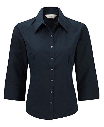 Russell Collection Women's Tencel Fitted 3/4 Sleeve Shirt Bleu Marine