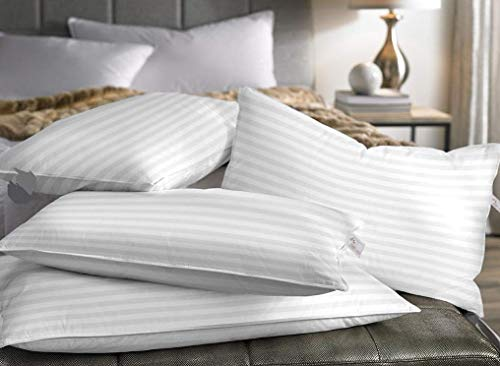Ivaan Classic 5 Star Hotel Set of 4 Pillow (White Stripes, King Size) - (17x27) Inches