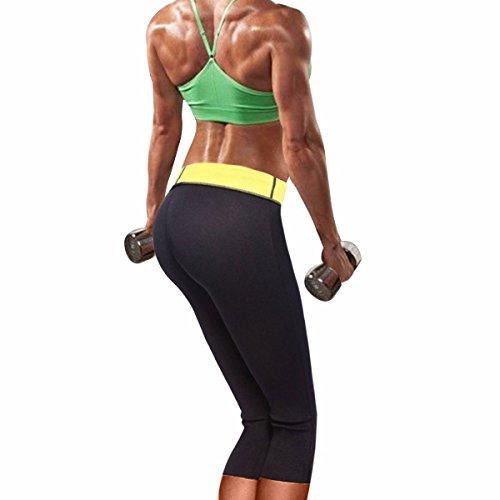 Donne stretto dimagrante Caldo Termico neoprene Pantaloni Sudore Pantalone da sauna Body nero&giallo