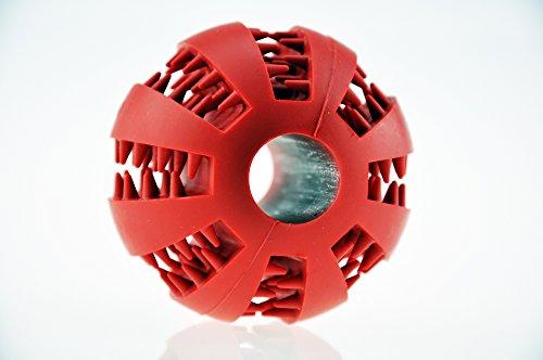 Hundespielzeug Ball aus Naturkautschuk mit Dental-Zahnpflege-Funktion | mit Noppen und Loch für Leckerli, ø 7cm, für große und kleine Hunde - 2
