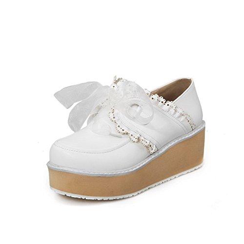 AgooLar Femme Matière Souple Rond à Talon Correct Lacet Couleur Unie Chaussures Légeres Blanc