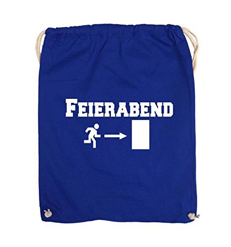Comedy Bags - FEIERABEND - EXIT - Turnbeutel - 37x46cm - Farbe: Schwarz / Silber Royalblau / Weiss