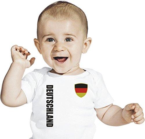 Deutschland Baby T-Shirt Trikot Look No.1 Germany WM EM Fussball - Gr. 56-86 - weiß weiß (68/74)