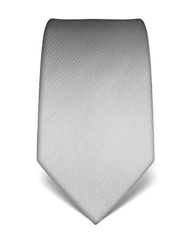 Vincenzo Boretti Herren Krawatte reine Seide strukturiert edel Männer-Design gebunden zum Hemd mit Anzug für Business Hochzeit 8 cm schmal/breit silber
