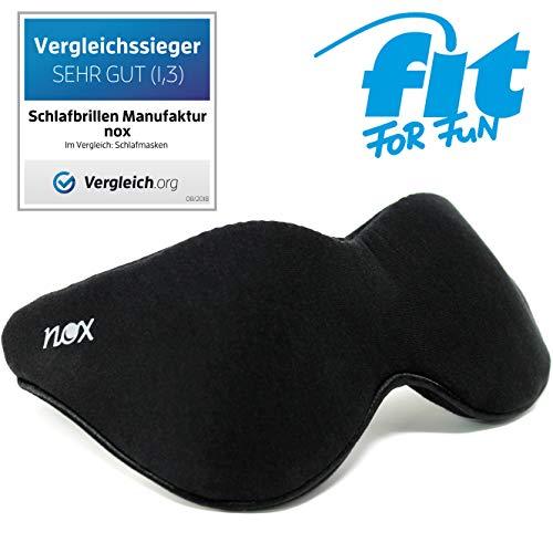nox Premium Schlafbrille Größe L | Luxus Schlafmaske | Augenmaske | Verdunkelungsmaske | Nachtmaske | Komfortabel 3D-Gewölbt Qualität Testsieger Nasenpolster Handarbeit EINWEG-KARTON
