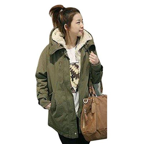FEITONG donne parka con cappuccio in pile inverno giacca calda (verde militare, XXXXXXL)