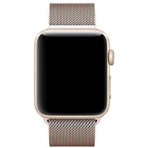 Für Apple Watch Armband 38mm, VIKATech Milanese Schlaufe Edelstahl Smart Watch Armbänder mit einzigartiger Magnetverriegelung ohne Schnalle für Apple Watch Armband 38mm Series 1 / 2 / 3, Sport, Edition, Nike+, Gold
