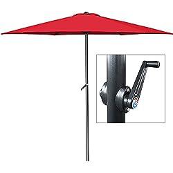 Parasol rouge - Ø 300cm - Avec manivelle - Jardin - Terrasse
