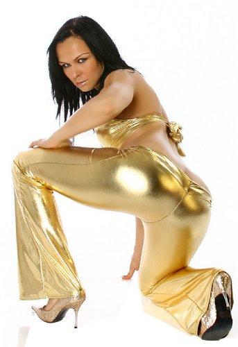 Gogo-Schlaghose lang & glänzend Einheitsgröße (34-38), gold