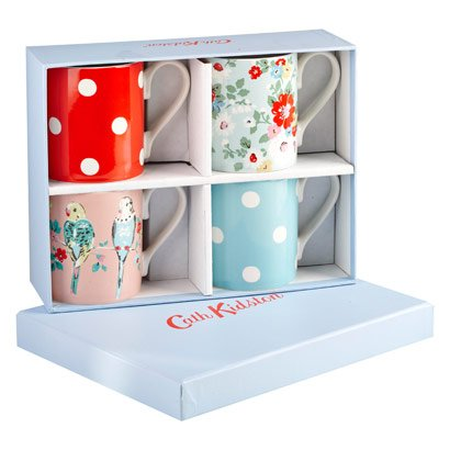 Cath Kidston Set Of 4 Assorted Spot, Floral And Bird Tea Mugs Gift Boxed