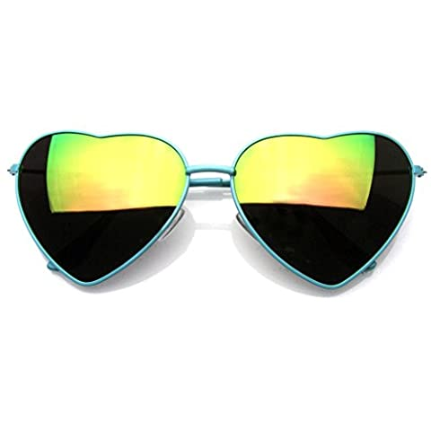 Premium Womens Cute Metal Frame Heart Shape Sunglasses (Flash Mirror | Green)