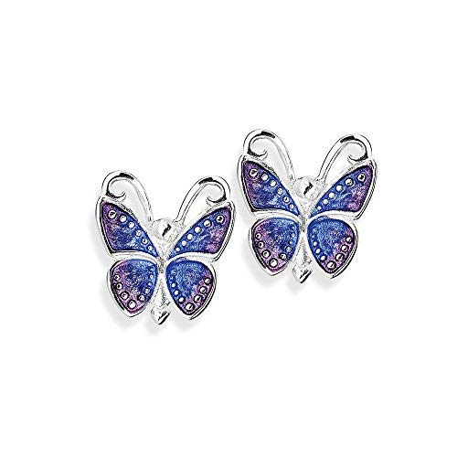 Heartbreaker Schmetterling Ohrstecker in Echtsilber, Kollektion Flying Purple, Schmetterlingohrstecker aus 925 Sterlingsilber (Jungen-ring-träger-outfit)