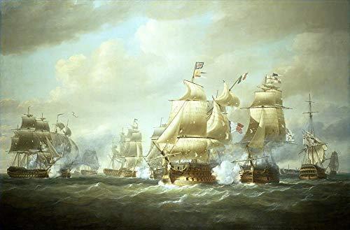 50€-2000€ Handgefertigte Ölgemälde - Nicholas Pocock Duckworth s Aktion aus San Domingo 6. Februar 1806 Marine Batt Gemälde auf Leinwand Kriegsschiff WSP1 Kunst Werk Ölmalerei - Malerei Maße02