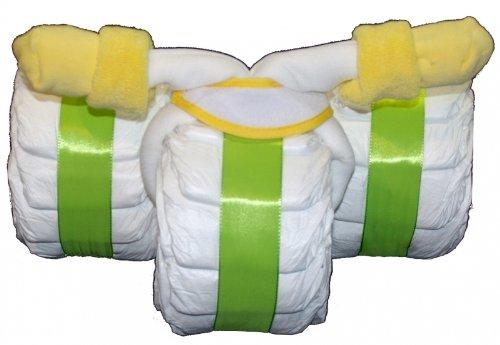 Windeldreirad neutral / Windeltorte grün - Geschenk zur Geburt, Taufe, Babyparty & Baby Shower